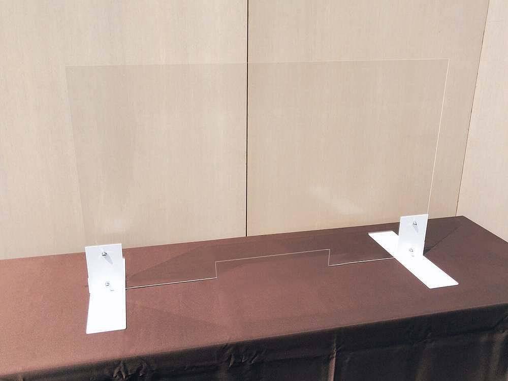 コロナ飛沫防止対面ガラス風アクリルパーテーション レンタル